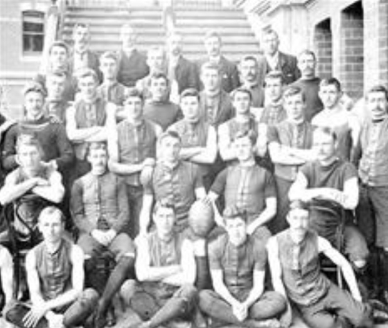 Here is a picture of The Melbourne football team, 1902. The team members are wearing lace-up football Guernsey's. Very hipster - dapper indeed, especially those moustaches.